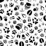 Animal and bird track seamless pattern background. Animal track seamless pattern background of wild mammal and bird footprint. Bear, dog and wolf, tiger, deer vector illustration
