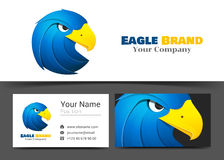 Animal Blue Eagle Corporate Logo and Business Card Sign Template Royalty Free Stock Photography