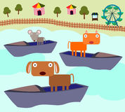 Animal boat ride Royalty Free Stock Image
