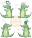 Animal bonito e flores do clipart digital do crocodilo Texto do tempo do partido Criança africana engraçada dos animais selvagens ilustração do vetor