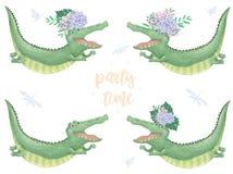 Animal bonito e flores do clipart digital do crocodilo Voo Croc Texto do tempo do partido Africano engraçado do cartão de anivers ilustração stock