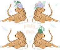 Animal bonito e flores do clipart digital do tigre na cabeça Texto do tempo do partido Animais selvagens africanos engraçados do  ilustração royalty free