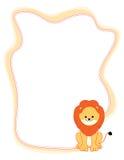 Animal border lion. Illustration of a cute little lion border / frame Stock Images