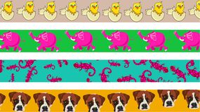 Animal borders. Set of four cute and colourful animal page border designs Stock Photography