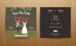 Animal bride and groom cartoon wedding invitation card Stock Images