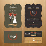 Animal bride and groom cartoon wedding invitation RSVP card set Stock Photo