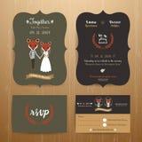 Animal bride and groom cartoon wedding invitation RSVP card set. On wood background Stock Photo