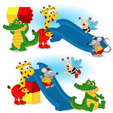 Animal are building slide from plastic block Stock Photo