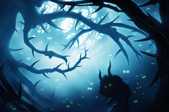Animal with burning eyes in dark mystic forest. At night vector illustration
