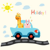 Animal Car Holiday fun cartoon. Animal Car Holiday fun design for website, company, shirt, travel, industry,drawing book Stock Image