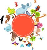 Animal card. Vector illustration of a colorful animal card Royalty Free Stock Photos