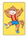 Animal card 3 - monkey. Digital illustration of a card with a vivacious monkey Stock Photos