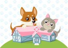 Animal Care Hospital Happy Dog and Cat Stock Photo