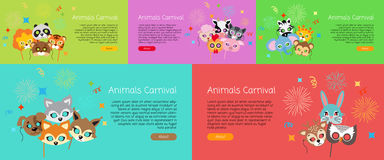 Animal Carnival. Collection of Cartoon Face Masks. Animal carnival. Set of masks in cartoon style. Colourful decorations on background. Zebra, elephant, tiger royalty free illustration