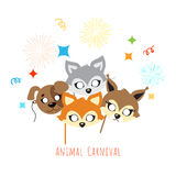 Animal Carnival. Decoration. Cartoon Masks on Face. Animal carnival masks of brown dog, cute red fox and squirrel with grey rabbit in cartoon style. Colourful Stock Image