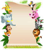 Animal cartoon with blank paper Royalty Free Stock Photo