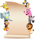 Animal cartoon with blank paper Royalty Free Stock Image