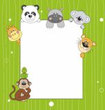 Animal cartoon and blank sign Stock Photography