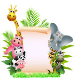 Animal cartoon with blank sign Royalty Free Stock Photography