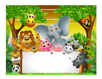 Animal cartoon with blank sign Royalty Free Stock Images
