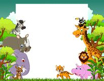 Animal cartoon with blank sign and tropical forest background Stock Photography