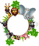 Animal cartoon collection with blank sign and tropical forest background Stock Images