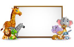 Animal cartoon collection with blank sign Stock Photography