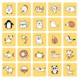 Animal cartoon doodle Stock Photos