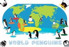 Penguin Distribution World Map Cartoon Vector. Animal Cartoon EPS10 File Format Royalty Free Stock Photos