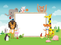 Animal cartoon frame border template with whiteboard Stock Images