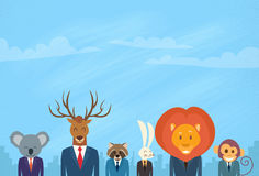 Animal Cartoon Head Businessman Suit Collection Stock Image