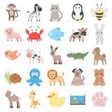 Animal 25 cartoon icons set for web Stock Image