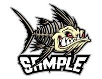 Angry fish bone cartoon mascot in  illustration. Animal cartoon mascot in  illustration. fish bones Royalty Free Stock Photography
