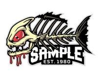 Fish bone cartoon mascot in  illustration. Animal cartoon mascot in  illustration. fish bones Stock Images