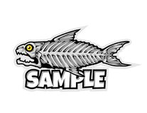 Fish bone cartoon mascot in  illustration. Animal cartoon mascot in  illustration. fish bones Stock Photos