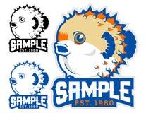 Puffy fish cartoon mascot in  illustration. Animal cartoon mascot in  illustration. puffy fish Stock Photos