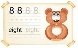 Animal cartoon number eight worksheet. Illustration royalty free illustration