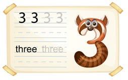 Animal cartoon number three worksheet stock illustration