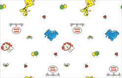 Animal cartoon pattern style. Lion and elephant and giraffe in baby farm Royalty Free Stock Images