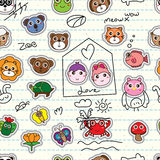 Animal cartoon sticker add on seamless pattern Royalty Free Stock Images