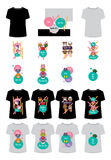 Animal cartoon tshirt set Stock Photo