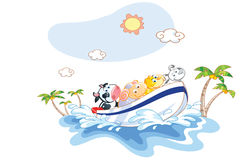 Animal cartoon was a boat ride on the beach Royalty Free Stock Photos