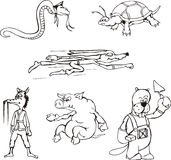 Animal Cartoons. Animal Cartoon Characters. Set of black and white vector illustrations Royalty Free Stock Images