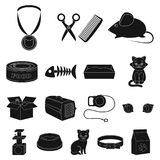 An animal cat black icons in set collection for design.. Caring for a cat vector symbol stock  illustration Royalty Free Stock Photography