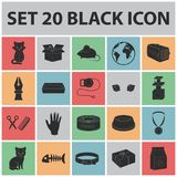 An animal cat black icons in set collection for design. Caring for a cat vector symbol stock web illustration. An animal cat black icons in set collection for Royalty Free Stock Photography
