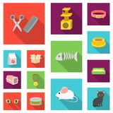 An animal cat flat icons in set collection for design. Caring for a cat vector symbol stock web illustration. An animal cat flat icons in set collection for Stock Image