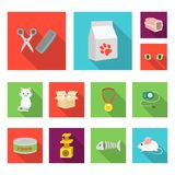 An animal cat flat icons in set collection for design. Caring for a cat vector symbol stock web illustration. An animal cat flat icons in set collection for Stock Photography