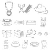 An animal cat outline icons in set collection for design. Caring for a cat vector symbol stock web illustration. An animal cat outline icons in set collection Stock Photography