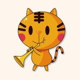 Animal cat playing instrument cartoon theme elements. Vector illustration file Stock Photos