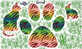 3 animal cat rabbit and panther life style stock illustration